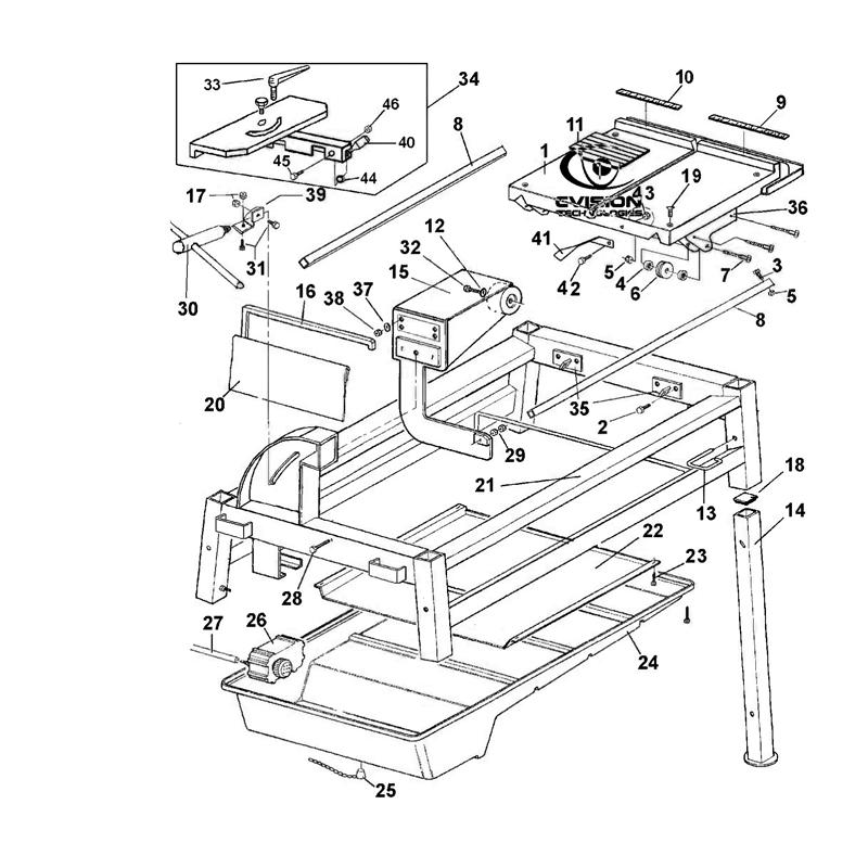 imer masonry 350 smart cut block paver saw parts